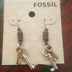 Fossil key earrings